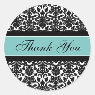 Teal Damask Thank You Wedding Envelope Seals