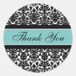 Teal Damask Thank You Wedding Envelope Seals Classic Round Sticker
