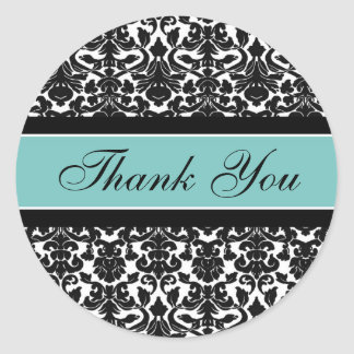 Teal Damask Thank You Wedding Envelope Seals Classic Round Sticker