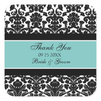 Teal Damask Thank You Wedding Favor Tags