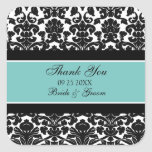 Teal Damask Thank You Wedding Favor Tags Square Sticker