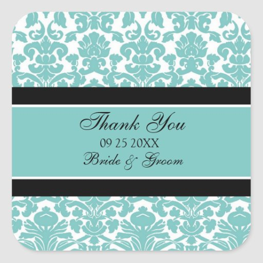Teal Damask Thank You Wedding Favor Tags Sticker