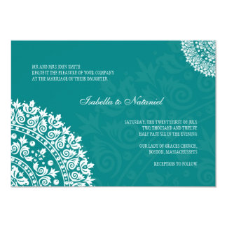 Teal Damask Wedding Invitation
