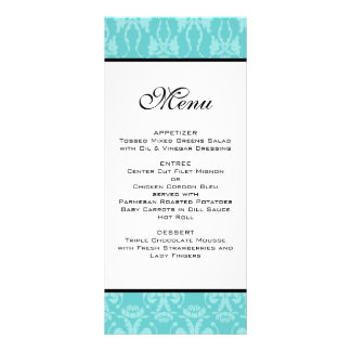 Teal Damask Wedding Menu