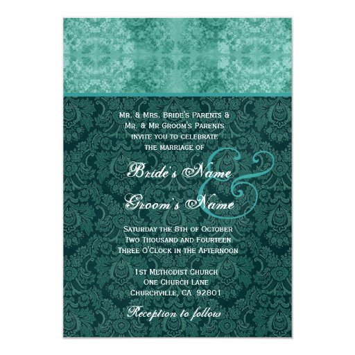 Teal Damask Wedding Metallic Personalized Announcement