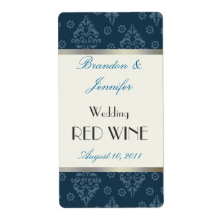 Teal Damask Wedding Mini Wine Labels