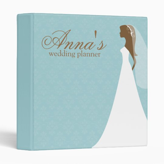 Teal Damask Wedding Planner Binder