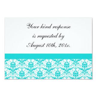 "Teal Damask Wedding RSVP Card 3.5"" X 5"" Invitation Card"
