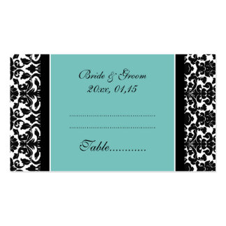 Teal Damask Wedding Table Place Setting Cards Business Card Template