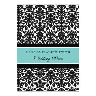 Teal Damask Wedding Vow Renewal Invitations