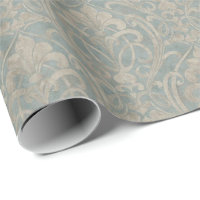 Teal Damask Wrapping Paper