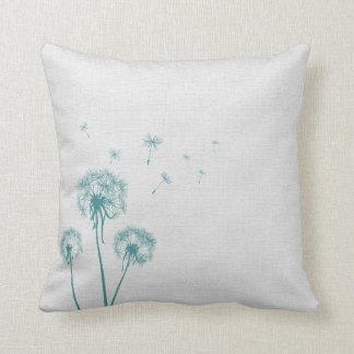 Teal Dandelion Pillow