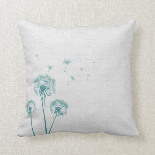 Teal Dandelion Pillows