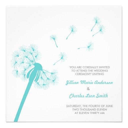 teal dandelion wedding invitation square invitation card