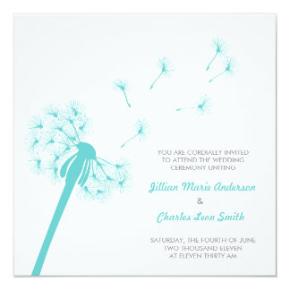 Teal Dandelion Wedding Invitation