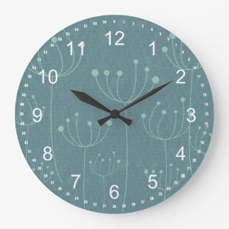 Teal Dandelions Large Clock