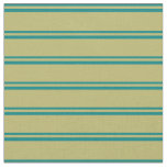 [ Thumbnail: Teal & Dark Khaki Colored Stripes/Lines Pattern Fabric ]
