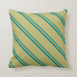 [ Thumbnail: Teal & Dark Khaki Colored Stripes/Lines Pattern Throw Pillow ]