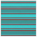 [ Thumbnail: Teal, Dark Turquoise & Dark Red Colored Pattern Fabric ]