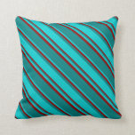 [ Thumbnail: Teal, Dark Turquoise & Dark Red Colored Pattern Throw Pillow ]
