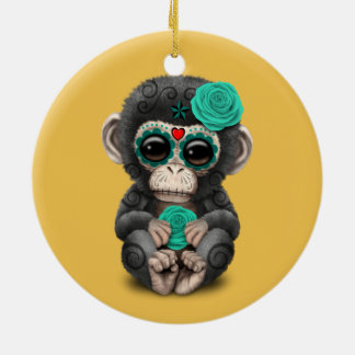 Teal Day of the Dead Sugar Skull Baby Chimp Ceramic Ornament