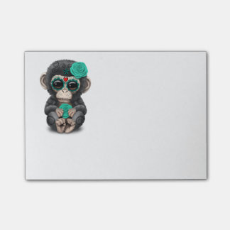 Teal Day of the Dead Sugar Skull Baby Chimp Post-it Notes