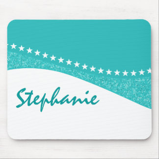 Teal Dazzling Star Curves Mousepad