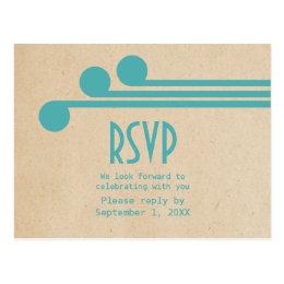 Teal Deco Chic RSVP Postcard