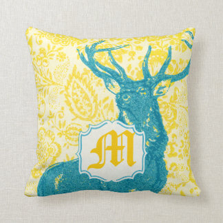 Teal Deer on Yellow Vintage Floral Pattern Pillow
