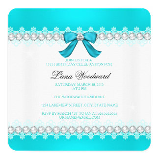 Teal diamond Girls 13th birthday party Card