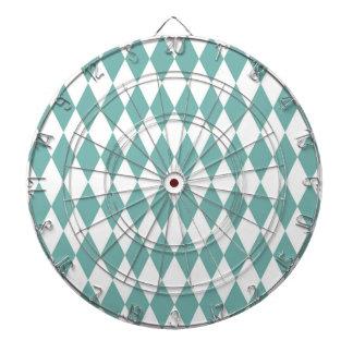 Teal Diamond Modern Retro Pattern Dartboard With Darts