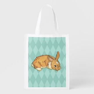 Teal Diamond Pattern Bunny Reusable Grocery Bag