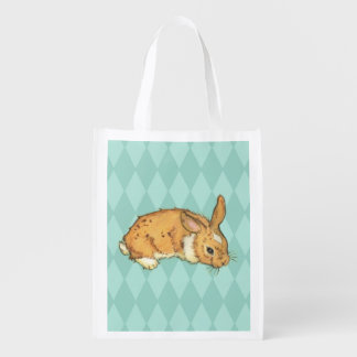 Teal Diamond Pattern Bunny Market Totes