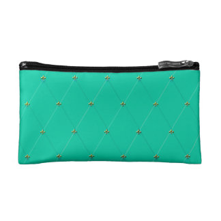 Teal Diamond Pattern with Gold Fleur-de-lis Cosmetic Bag