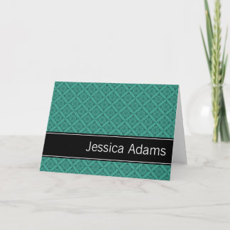 Teal Diamonds Pattern Personalized Note Card