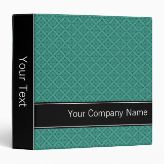 Teal Diamonds Pattern Personalized Office Binder
