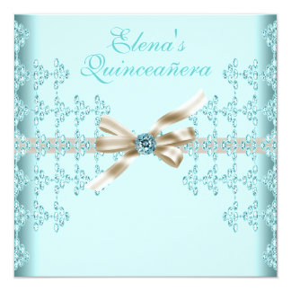 Teal Diamonds Teal Blue Quinceanera Personalized Invite