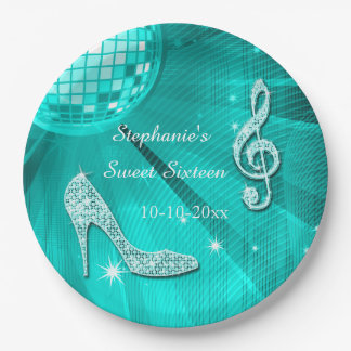 Teal Disco Ball and Heels Sweet 16 Paper Plate