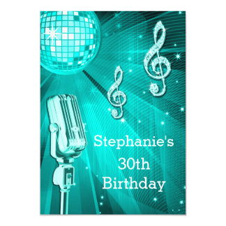 Teal Disco Ball and Retro Microphone 30th Birthday Card