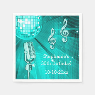 Teal Disco Ball and Retro Microphone 30thBirthday Paper Napkin