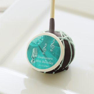 Teal Disco Ball and Retro Microphone 80th Birthday Cake Pops