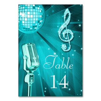 Teal Disco Ball and Retro Microphone Card