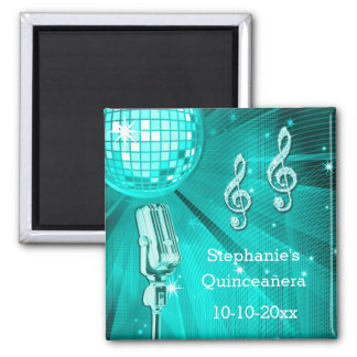 Teal Disco Ball and Retro Microphone Quinceañera 2 Inch Square Magnet