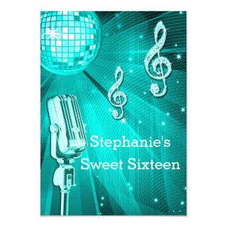 Teal Disco Ball and Retro Microphone Sweet Sixteen Card