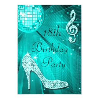 Teal Disco Ball and Sparkle Heels 18th Birthday Card
