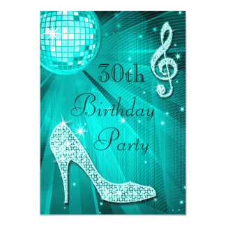 Teal Disco Ball and Sparkle Heels 30th Birthday Card