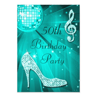 Teal Disco Ball and Sparkle Heels 50th Birthday Card
