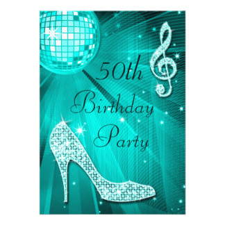 Teal Disco Ball and Sparkle Heels 50th Birthday Invites