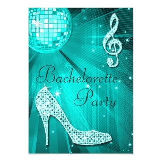Teal Disco Ball and Sparkle Heels Bachelorette Card