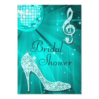 Teal Disco Ball and Sparkle Heels Bridal Shower Card